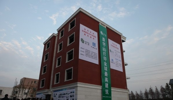 WinSun claims that their new 3D printed five-story building is the tallest of its kind in the world. Credit: 3ders.org