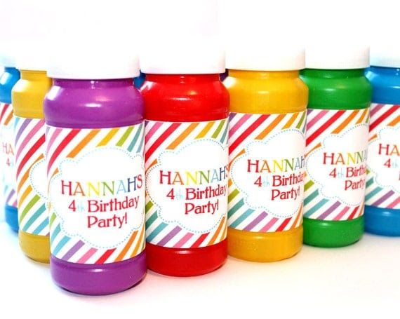 Rainbow Birthday Party -  DIY PRINTABLE Bubble Labels