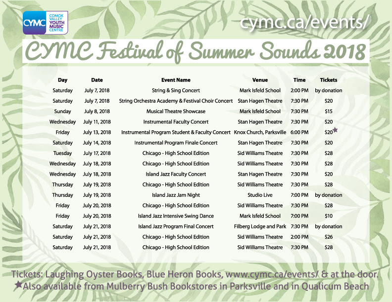 CYMC Festival of Summer Sounds 2018 Schedule