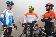 Cyclists in a group formed by Greg Gretsch of Jackson Square Ventures paused during a ride through the Marin Headlands near San Francisco.