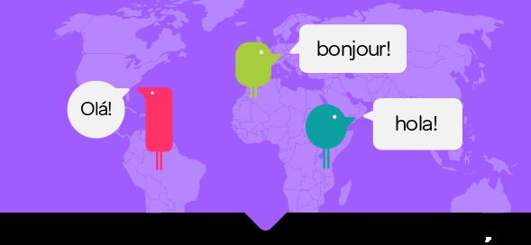 Texthelpers on a global map 'ola' 'bonjour' 'hola'